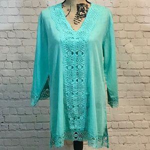 ♥️Isaac Mizrahi Blue lace beach coverup tunic NWT